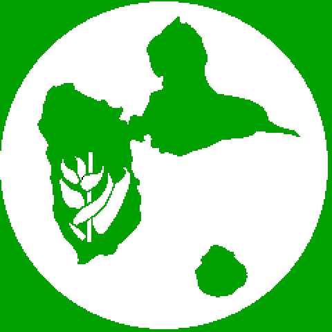 logo du club : fleur de balisier posée sur l'archipel guadeloupéen